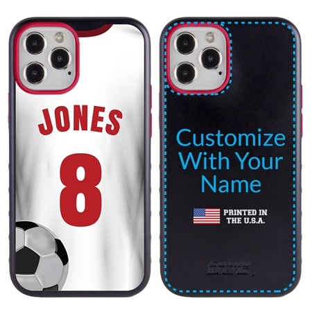 Custom Soccer Jersey Hybrid Case for iPhone 12 / 12 Pro - (Black Case, White Jersey)