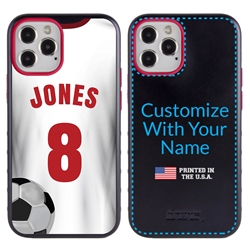 Custom Soccer Jersey Hybrid Case for iPhone 12 Pro Max - (Black Case, White Jersey)
