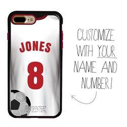 Custom Soccer Jersey Hybrid Case for iPhone 7 Plus / 8 Plus - (Black Case, White Jersey)