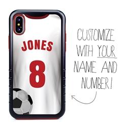 Custom Soccer Jersey Hybrid Case for iPhone X/Xs - (Black Case, White Jersey)