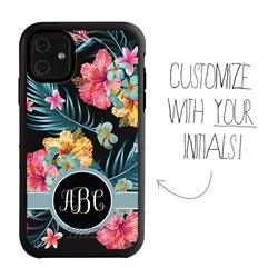 Personalized Monogram Case for iPhone 11 – Hybrid – Hibiscus Jungle