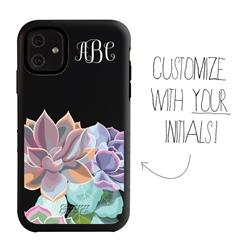 Personalized Monogram Case for iPhone 11 – Hybrid – Subtle Succulents