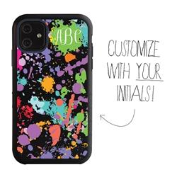 Personalized Monogram Case for iPhone 11 – Hybrid – Paint Splatter