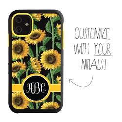 Personalized Monogram Case for iPhone 11 – Hybrid – Sunflower Stalks