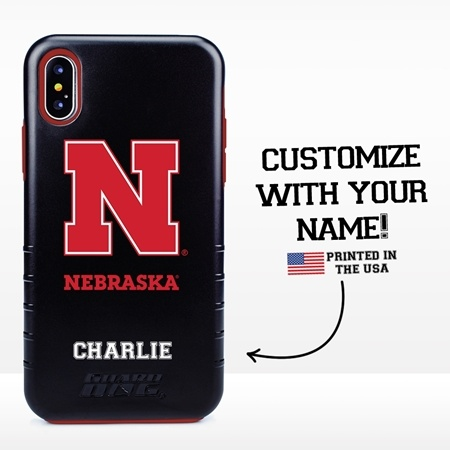 Collegiate Case for iPhone X / XS – Hybrid Nebraska Cornhuskers - Personalized