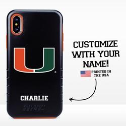 Collegiate Case for iPhone XS Max – Hybrid Miami Hurricanes - Personalized