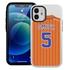 Personalized Pinstripe Baseball Jersey Case for iPhone 12 Mini – Hybrid – (White Case)