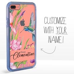 Personalized Bird Case for iPhone 7 Plus / 8 Plus - Clear - Hummingbird Garden