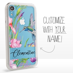Personalized Bird Case for iPhone XR - Clear - Hummingbird Garden