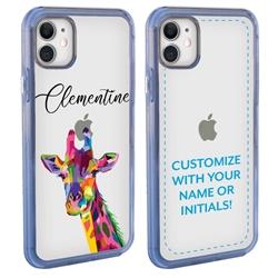 Personalized Majestic Animal Case for iPhone 12 / 12 Pro - Clear - Kaleidoscope Giraffe