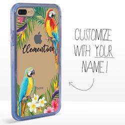 Personalized Tropical Case for iPhone 7 Plus / 8 Plus –  Clear – Jungle Parrots