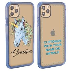 Personalized Unicorn Case for iPhone 12 / 12 Pro - Clear - Blue Unicorn